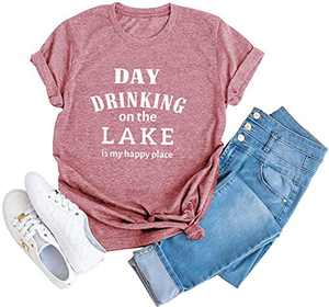 Day Drinking On The Lake is My Happy Place T Shirt Womens Casual Short Sleeve Tee Tops Pink