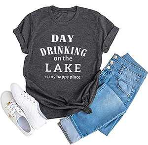 Day Drinking On The Lake is My Happy Place T Shirt Womens Casual Short Sleeve Tee Tops Gray
