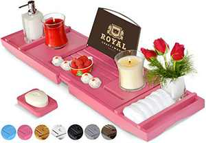 ROYAL CRAFT WOOD Luxury Bathtub Caddy Tray, One or Two Person Bath and Bed Tray, Bonus Free Soap Holder (Pink)