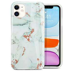 EMZhole Compatible with iPhone 11 Case Marble Pattern Ultra Thin Soft TPU Rubber Slim Shiny Fashion Phone Cover Case for iPhone 11 6.1 inches 2019 Released - Light Green