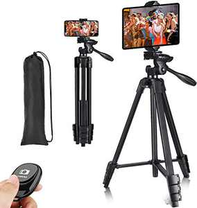 Phone Tripod,Tripod for Camera,55-inch Extendable Lightweight Aluminum TripodStand with Universal 2 in 1 Phone/Tablet Holder,Remote Shutter,Compatible with Smartphone&Tablet&Camera,Carry Bag Inclued.