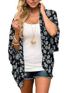 Women Tops Floral Kimono Casual Cardigan Chiffon Loose Cover Ups(BKFL,S)