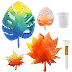 Coaster Resin Molds, Silicone Casting Molds Included 4 pcs Leaf Coaster Molds, Silicone Measuring Cup, Silicone Brushes for Epoxy Resin DIY Crafting Home Decoration