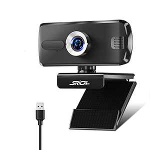 Srica Webcam with Microphone, 1080P USB Webcam PC Camera for Video Calling Recording Video Conference Online Teaching Compatible with Computer Desktop Laptop Mackbook for Windows Android iOS