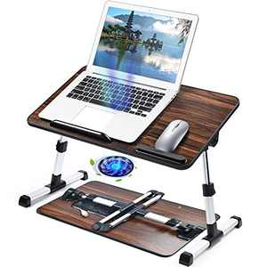 Adjustable Laptop Desk Table for Bed, Foldable Computer Stand [Large Size] Tiltable Notebook Tray with Cooling Fan for Sofa Couch Floor (Walnut)