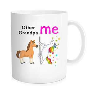 Funny Coffee Mug Tea Cup For Grandfather, Birthday Father's Day Halloween Christmas Present - Other Grandpa Me Unicorn - , White Fine Bone Ceramic 11 oz