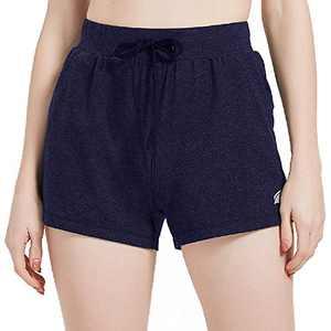 "EZRUN Women 3"" Active Workout Yoga Shorts Lightweight Lounge Sweat Shorts with Deep Pockets(Navy,XL)"