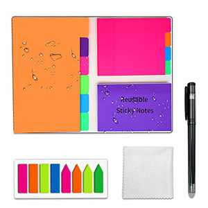 NEWYES Reusable Sticky Notes,Divider Post It Notes Set With Tabs,Erasable Self-Sticker Message Memo Pads,Pen Included,Super Sticky With 6 Stylus Colors For Teachers Students