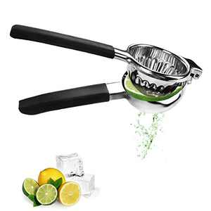 Handheld Stainless Steel(100%) Lemon Squeezer Press - Large Manual Citrus Press Juicer and Lime Squeezer - Extracting More Fruit Juice - With Silicone Handles And Easily Clean