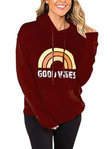 Gemijack Womens Graphic Hoodies Good Vibes Rainbow Drawstring Casual Hooded Pullover Sweatshirt