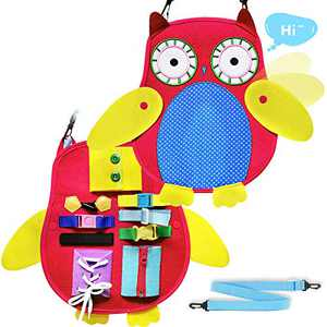 Busy Board for Toddlers Owl 11-in-1 Fine Motor Skills Sensory Development Toys Toddler Activity Busy Board Learning Educational Toys for 1 2 3 4 Year Old Kids Boys Girls Airplane Car Travel Toys