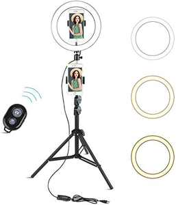 """Arespark 10"""" Selfie Ring Light with 60"""" Adjustable Tripod Stand & Cell Phone Holder for Live Stream/Makeup/Photography/YouTube Video Compatible with iPhone/Android (Black)"""