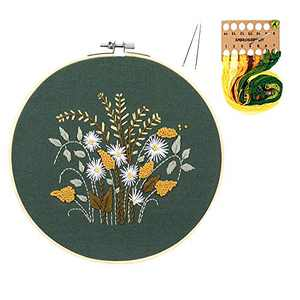 Embroidery Starter Kit with Hoop - Cross Stitch Kits with Pattern and Instructions and Embroidery Clothes with Pattern, Plastic Embroidery Hoops, Color Threads and Needles (Green)