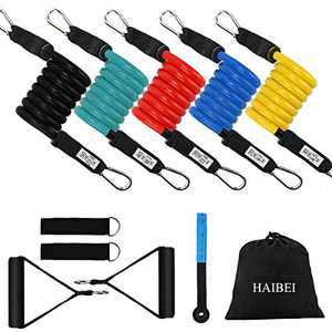 HAIBEI Resistance Bands Set Workout Bands Exercise Bands with Handles and Door Anchor Stackable Up to 150 lbs Perfect for Arms, Back, Leg, Chest, Belly, Glutes ,Resistance Training, Physical Therapy