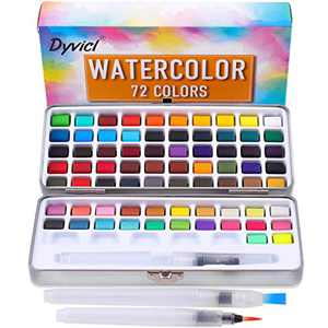 Dyvicl Watercolor Paint Set - 72 Assorted Watercolors in Gift Tin Box with Water Brushes Sketch Set Protable Watercolor Travel Set for Kids, Adults, Beginners, Artists Painting