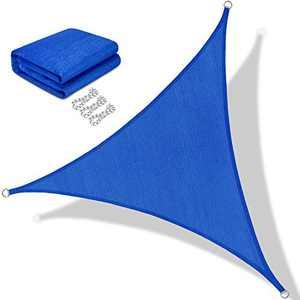 BOLTLINK Triangle Sun Shade Sail 16'x 16'x 16'Canopy UV Block for Patios Outdoor Backyard Garden Deck -Blue