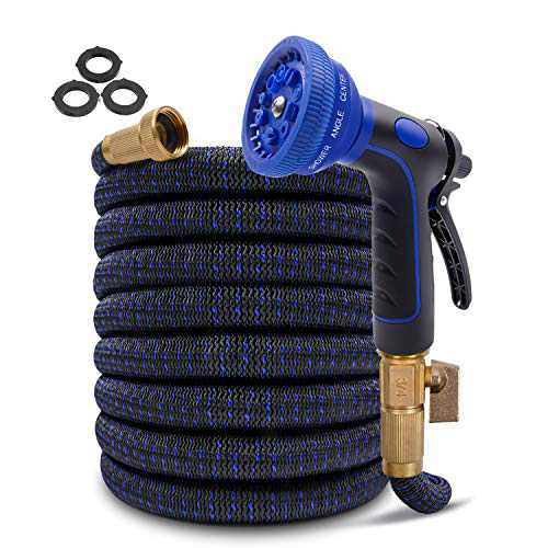 """Expandable Garden Hose 100ft Flexible Water Hose, Lightweight Expanding Gardening Hose with Triple Latex Core, Durable 3750D Retractable Fabric, 3/4"""" Solid Brass Fittings & 10 Modes Spray Nozzle"""
