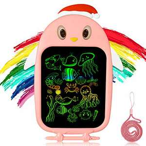 Bagpipe LCD Writing Tablet 8.5-Inch Colorful Doodle Board Drawing Tablet, Electronic Drawing Pad with Lock Function, Educational and Learning Toys for 3 4 5 6 Year Old Girls and Boys,Pink