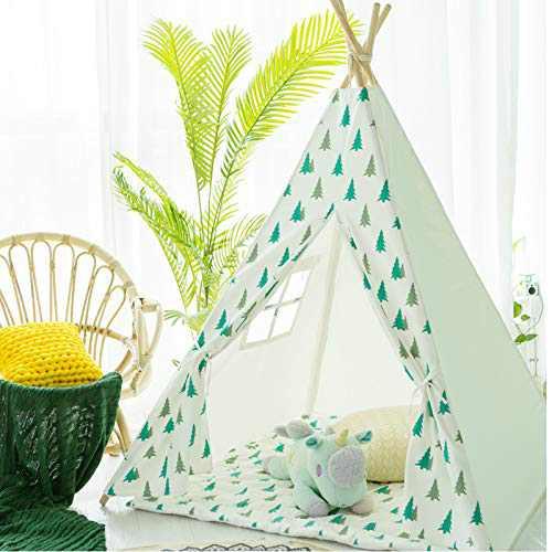 Avrsol Kids Teepee Play Tent Foldable Teepee Natural Cotton Canvas Teepee