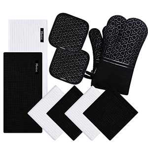 10 Piece Set Silicone Oven Mitts and Pot Holder,with Kitchen Towels and Dish Cloths ,500 Degree Heat Resistant Soft Lining Oven Mitts,Quick Drying Dish Towel,for Kitchen Baking BBQ Grilling (blue …