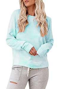 Tymidy Womens Casual Tie Dye Sweatshirt Crewneck Long Sleeve Color Block Print Oversized Pullover Tops