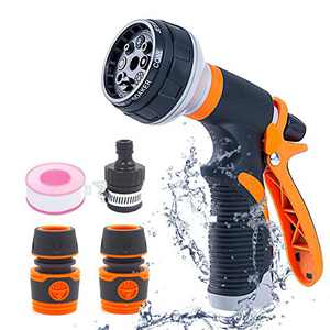 SUDESMO Garden Hose Nozzle, High Pressure Garden Hose Sprayer with 8 Adjustable Patterns, Hose Nozzle for Plant, Washing Car, and Showering Pet(Orange)