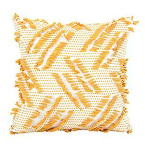 cygnus Stripe Twill Cotton Woven Throw Pillow Covers for Couch Sofa Bed Geometry Modern Boho Farmhouse Decorative Couch Cover 18x18 Inch,Yellow