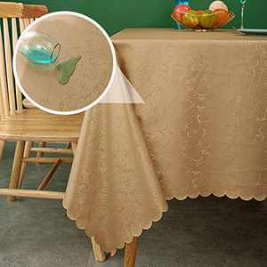 sancua Waterproof Vinyl PU Tablecloth, 60 x 60 Inch, Durable Washable Spill Stain Proof Rectangle Table Cloth, Floral Wipeable Table Cover for Dining & Kitchen Table, Indoor & Outdoor Use, Vine Camel