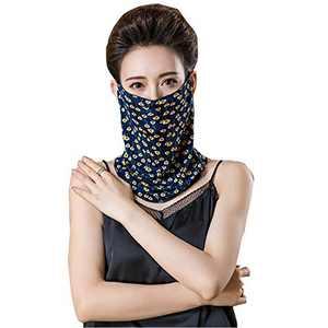 Womens Neck Gaiter Face Cover Scarf Chiffon Bandana Headwear (Navy blue05)