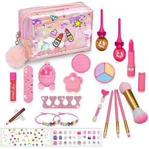 RichSmile 22PCS Washable Kids Makeup Toy Kit, Non-Toxic Real Safe Cosmetic Makeup Toy Set for Kids Girls Play Game Halloween Christmas Birthday Party