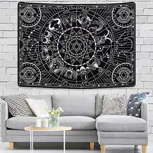 12 Constellation Tapestry Celestial Galaxy Tapestry Moon and Star Tapestry Black Tarot Hippie Tapestries for Room (59.1 x 82.7 inches)