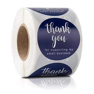 """2"""" Thank You for Supporting My Small Business Stickers, 4 Designs Round Classy Hot Silver Font Sticker for Bags, Boxes, Tissue, Ideal for Crafters & Online Sales, 500 Labels Per Roll"""