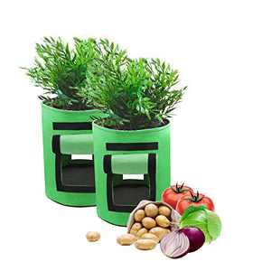 Grow Bags -JoaSinc Planting Pots Potato Grow Bags 7 Gallon Garden Grow Bags Vegetables Planter Bag with Double Access Flaps Velcro Windows for Planting Potato Carrot Onion Taro Radish Peanut Pack of 2