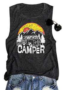 TAOHONG Camping Tank Top Women Cute Graphic Sleeveless Shirt Mountain Hiking Outdoor Vacation Tank Summer Muscle Vest Top Dark Gray