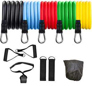Wisdagaly Resistance Bands Set ,Workout Bands, Exercise Bands,5 Fitness Bands for Working Out with Door Anchor, Handles, Legs Ankle Straps for Resistance Training,Physical Therapy, Home Workouts