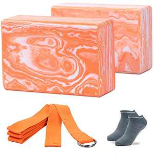 ADRIMER Yoga Blocks 2 Pack with Yoga Strap Yoga Socks Set, High Density Non-Slip EVA Foam Blocks for Women Men to Yoga, Pilates, Stretching, Meditation, Workout and Gym