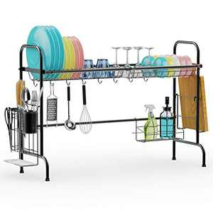 Over the Sink Dish Drying Rack, F-color Large Dish Rack Premium 201 Stainless Steel with Utensil Holder Hooks Dish Drainer for Kitchen Counter, Non-slip Easy Install, Black