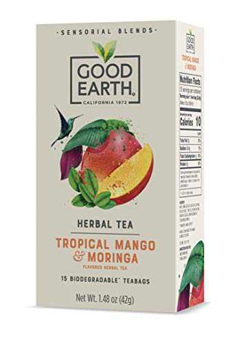 Good Earth Sensorial Blend All Natural Tropical Mango and Moringa Herbal Tea, 15 Count Tea Bags (Pack of 5)
