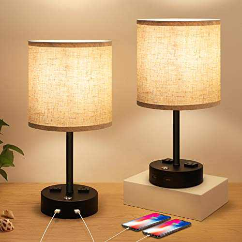 Bedside Lamps, Nightstand Lamps for Bedrooms Set of 2, Touch Control Dimmable Modern Table Lamp with USB Charging Ports and AC Outlets, Fabric Shade Lamp for Living Room, Office
