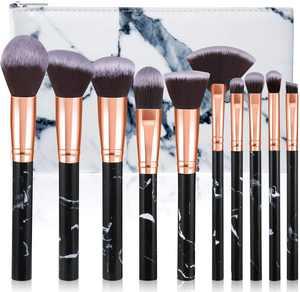 Makeup Brushes, Glamour Gaze 10Pcs Marble Makeup Brush Set Foundation Powder Blush Blending Eyeshadow Brushes Sets with Cosmetics Bag, Black