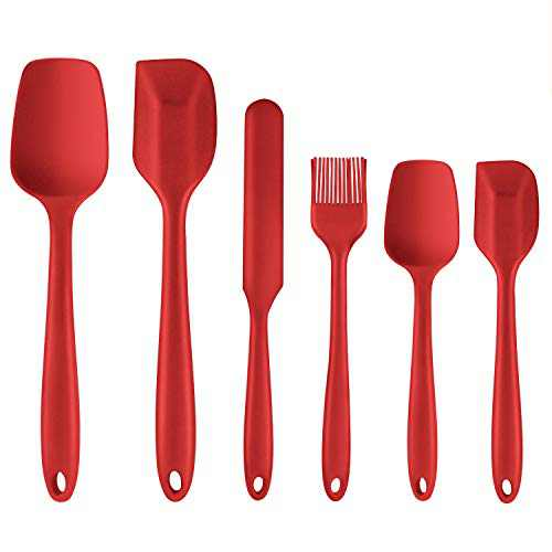Lavador Silicone Spatula Set, 6 Piece High Heat Resistant Silicone Spatulas, Food Grade BPA Free, Non-Stick Rubber Spatula Kitchen Utensils for Cooking, Baking, Mixing (Red)