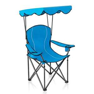 ALPHA CAMP Camp Chair with Shade, Folding Camping Chair, Canopy Chair, Support 160kg, Blue