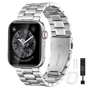 Bestig Compatible for Apple Watch Band 38mm 40mm Premium Solid Stainless Steel Metal Replacement Adjustable Sport Wristband Bracelet Strap for iWatch Series 6 SE 5 4 3 2 1(Matt Silver/Polished Silver)