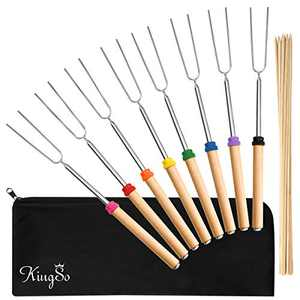 KINGSO Marshmallow Roasting Sticks 32inch Smores Skewers for Fire Pit 8 Pcs Hot Dog Sticks for Campfire Telescoping with Bamboo Skewers, BBQ Forks Stainless Steel Roasting Forks With A Free Canvas Bag