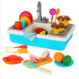 D-FantiX Kids Toy Sink, Play Sink with Running Water Faucet Electric Dishwasher Wash Up Pretend Kitchen Toys with Cooking Pots and Pans Stove Playset Dishes for Toddlers Boys Girls