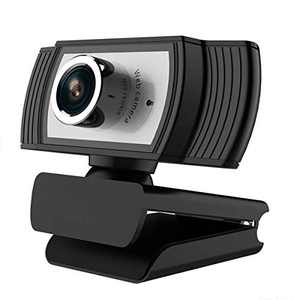 Webcam with Microphone 1080P Full HD, Lychee USB Beauty Webcam 360° Rotatable Web Cameras for Computer Notebook Conferencing Online Lessons Live Broadcasts (Black&Silver)