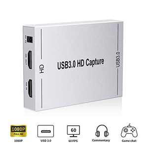 HDMI Video Capture Card,HDMI to USB 3.0 Live Streaming Capture Device,Support Full HD 1080P 60HZ Mic in and Audio Out for Switch PS4 Xbox One Xbox 360,Compatible with Linux/Mac OS/Window