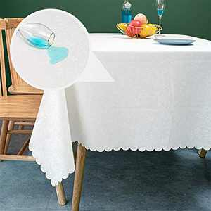 sancua Waterproof Vinyl PU Tablecloth, 52 x 70 Inch, Durable Washable Spill Stain Proof Rectangle Table Cloth, Floral Wipeable Table Cover for Dining & Kitchen Table, Indoor & Outdoor Use, Rose White