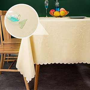 sancua Waterproof Vinyl PU Tablecloth, 54 x 108 Inch, Durable Washable Spill Stain Proof Rectangle Table Cloth, Floral Wipeable Table Cover for Dining & Kitchen Table, Indoor & Outdoor Use, Vine Beige