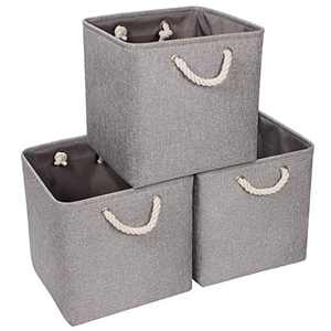 Syeeiex Foldable Cube Storage Bin, Cube Organizer Storage Bins, Storage Basket, Fabric Bins for Storage with Handles for Nursery Home, Bedroom, Grey, 3-Pack